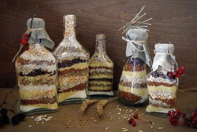 Декорируем бутылки сухими продуктами и другое рукоделие